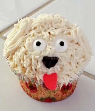 This is how my dog looks right after the vet gives her a shot. I made about 24 of these, and they all went to my dog's vet as a thank you. Cupcake By: Elizabeth Preston Photo By: Elizabeth Preston